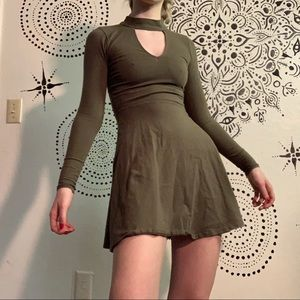 Mock Neck Cutout Skater Dress
